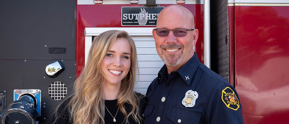 Bailey Farren with her father and former Petaluma Fire Captain, Dan Farren.