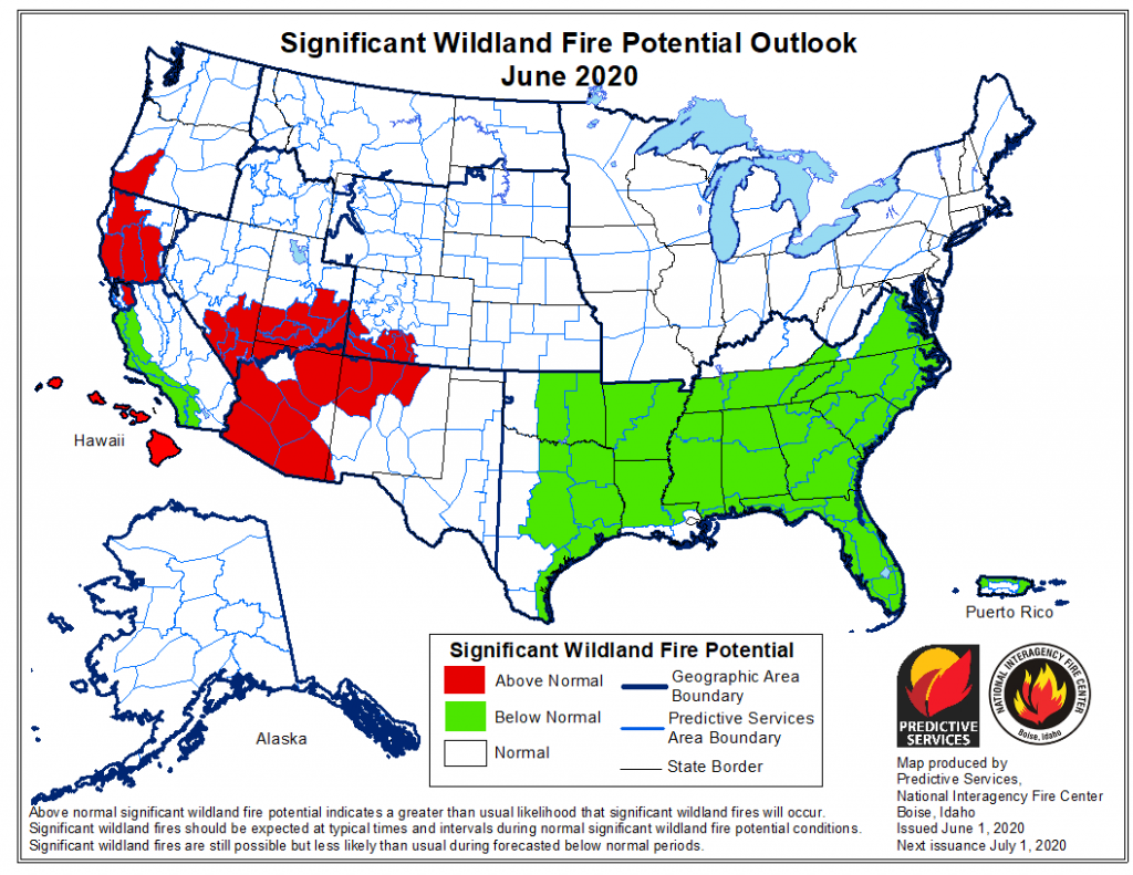 A map of the United States, released June 1 2020, showing Significant Wildland Fire Potential Outlooks for the month of June.