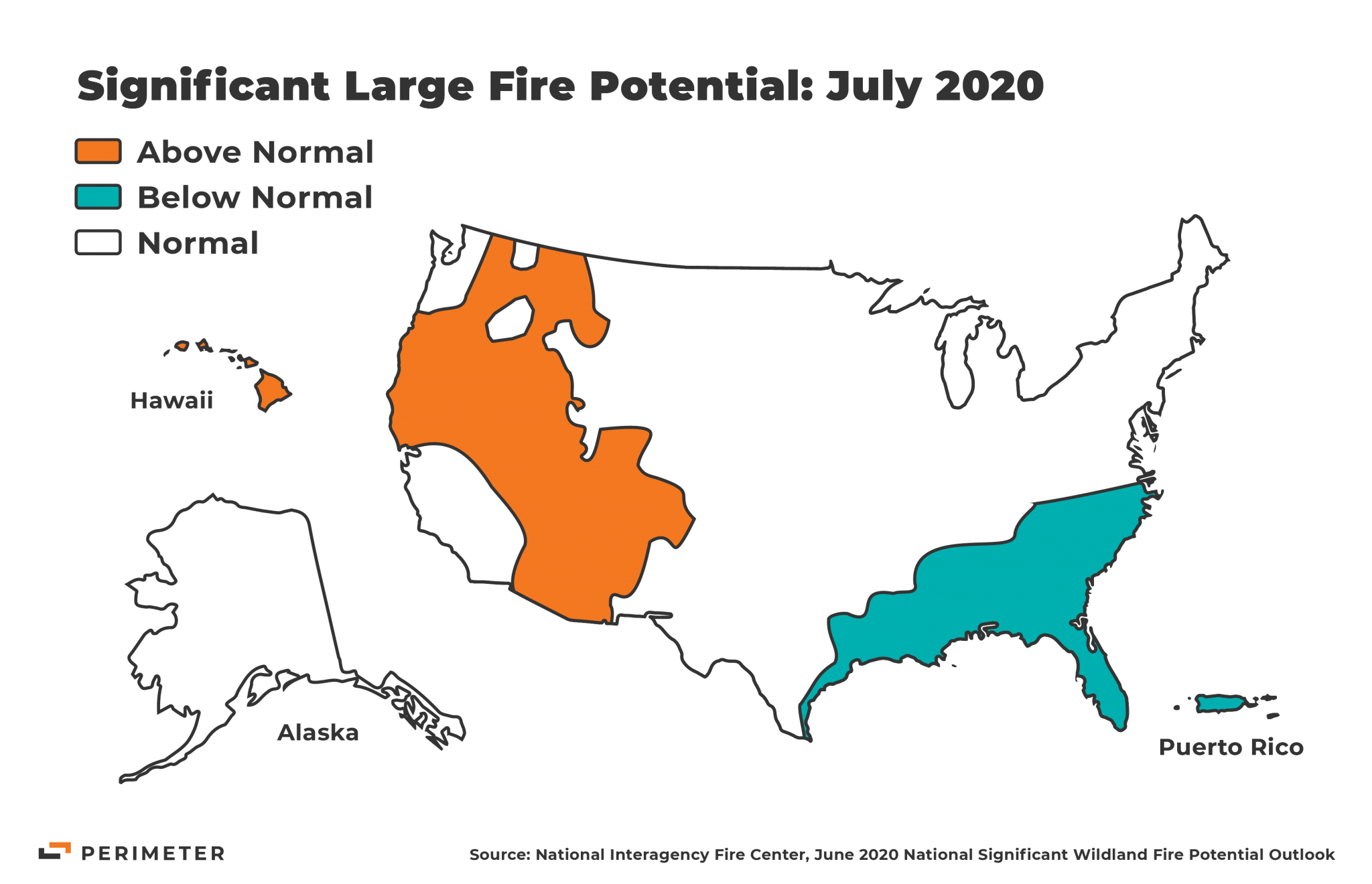 Map showing Above Normal, Below Normal, and Normal significant large fire potential risk zones for the United States in July 2020.