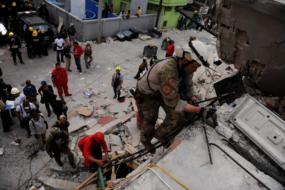 First responders provide rescue support during the 2010 Haiti earthquake.