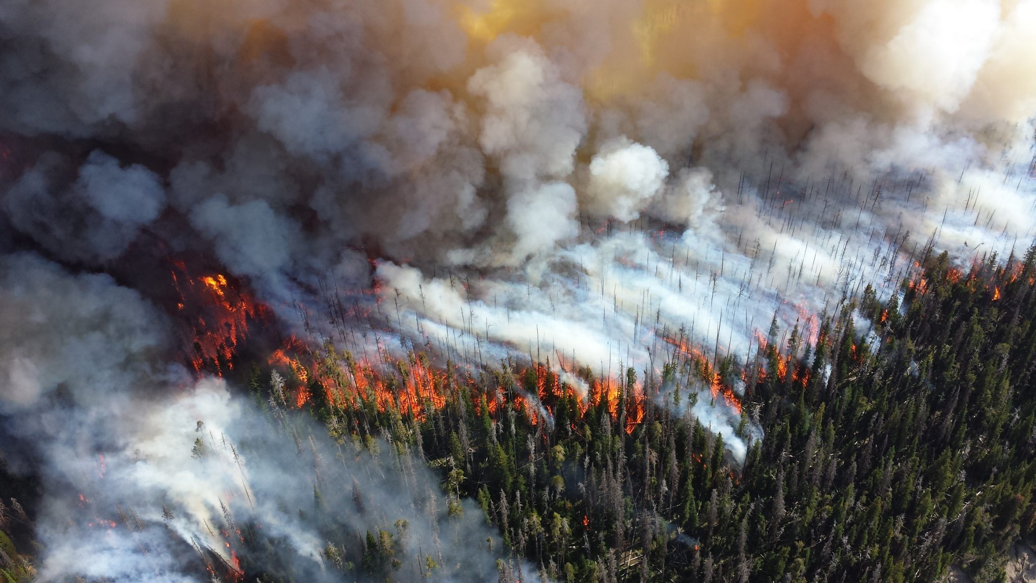 Smoke spreads from an ongoing wildland fire.