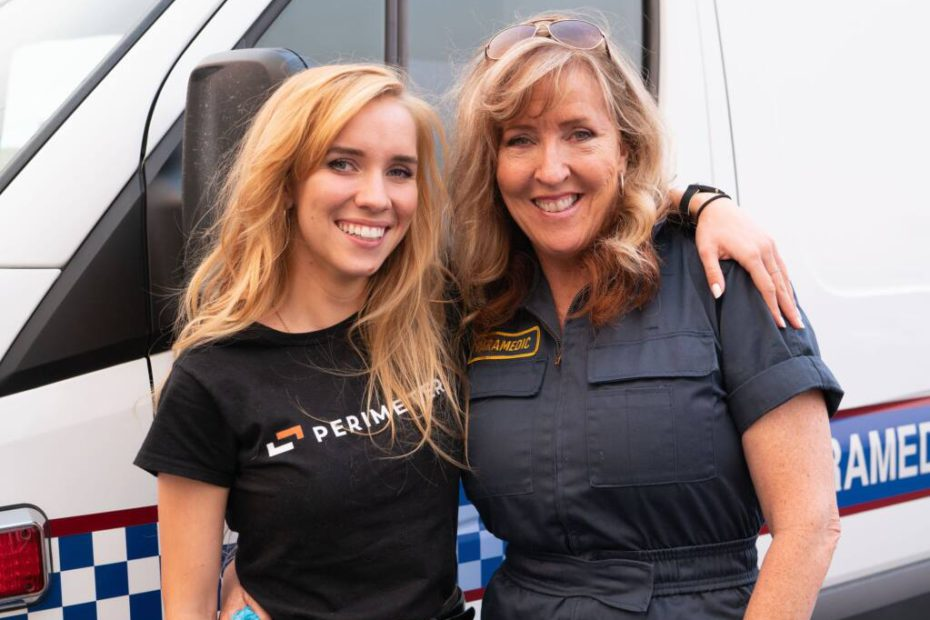 Perimeter CEO Bailey Farren stands with her mother Susan Farren, Resiliency Coach and Founder of First Responder Resiliency, Inc.