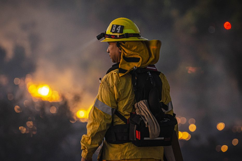 A firefighter overlooks a the brush fire at Sepulveda Basin.
