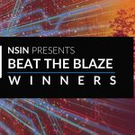 """Wildfire photo in the background, with the text """"NSIN presents Beat the Blaze winners"""" in the foreground."""